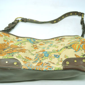 Relic Tan Brown Fabric & Leather Floral Print Bag